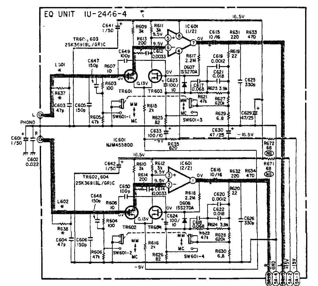 riaa preamplifier using njm4558 jrc4558 op amp